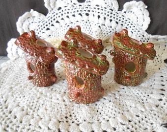 4 Bird House Shaped-Glazed Ceramic Macrame Beads-Handcrafted-Brown-Autumn-BH1