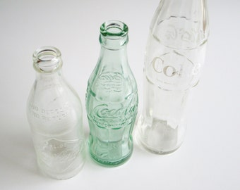 Vintage Coke Bottles, Coke Bottle, Instant Collection, Hobble skirt, Coca-Cola, Collectible, Lewistown, Straight Side, Embossed, Set of 3