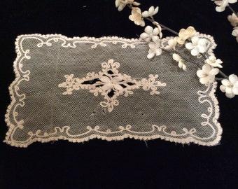Vintage Netted Limerick Lace Scarf, Vintage Lace Doily, Net Lace, Vintage Lace, Vintage Linens, Vintage Netted Lace, Limerick Lace