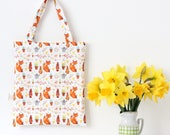 Easter Egg Hunt Bag Easter Bag Fox Tote Bag Spring Tote Bag