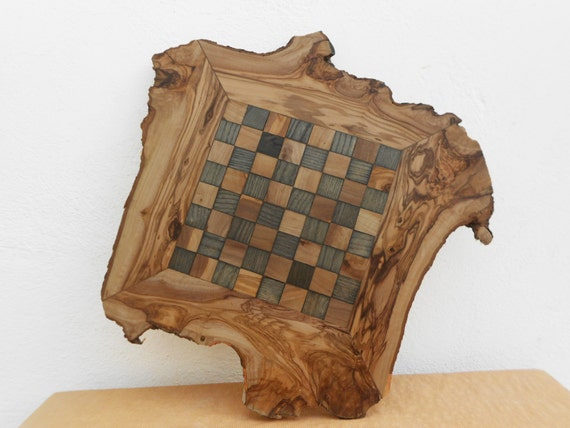 Christmas Gift Sale 25% OFF / Unique Olive Wood Rustic Chess Set Board 14 Inch, Custom Engraved Chess board, Dad gift, Boyfriend Gift