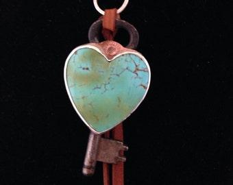 Handmade Jewelry, Kingman Turquoise, Heart Pendant, Vintage Skeleton Key, Southwestern Charm Necklace, Key To My Heart