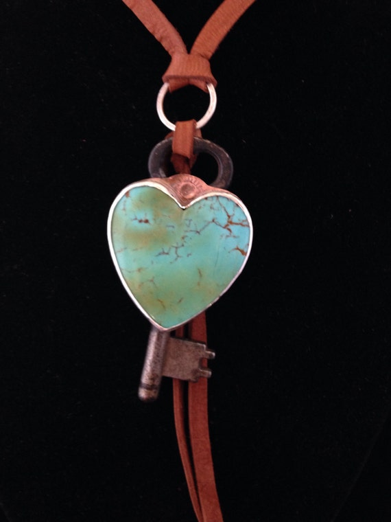 Handmade Jewelry, Kingman Turquoise, Heart Pendant, Vintage Skeleton Key, Southwestern Charm Necklace, Key To My Heart