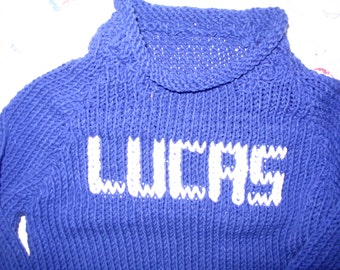 Baby Boys 6/9mos, 9/12mos -  Name-Embroidered Handknit Cotton Sweaters