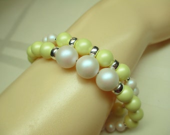 Two Strand Pastel Yellow and White Pearl Bracelet