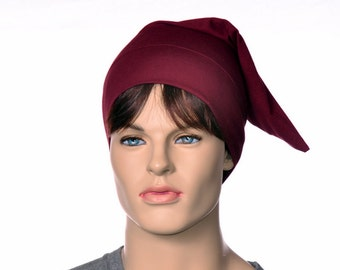 Pointed Sleep Cap Nightcap Burgundy Sleeping Hat Victorian Night Cap Pointed Unisex Poor Poet Hat