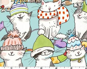 Kittens - Cats Scarfs Hats Aqua Blue by Anita Jeram from Clothworks