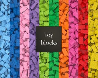 "11 Toy blocks digital papers, toy brick papers, 12"" x 12"" paper & 8.5"" x 11"" digital papers, building bricks digital papers DIGITAL DOWNLOAD"