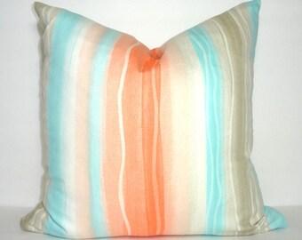 OVERSTOCK SALE Waterfall Orange Tan Aqua Blue Pillow Cover Decorative Pillow Nautical Beach Throw Pillow Cover 18x18