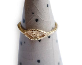 OOAK Ring eye 14k solid gold