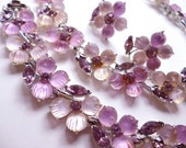 Lisner Pink Lucite and Rhinestone Full Demi Parure Necklace Bracelet Earrings Set Original Box 1950 1960's
