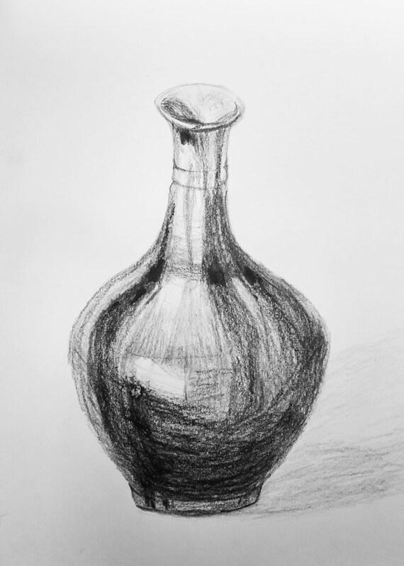 Oorspronkelijke stilleven tekening houtskool koperen vaas