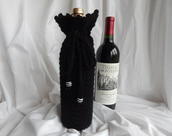 Crochet Wine Bottle Cover - Wine Bottle Cozy Gift Wrap - Black with Black & White Beads