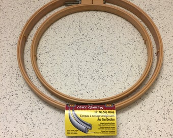 """Embroidery Hoops Set of 2 Large 12"""" and 10"""" Dritz Quilting No-Slip Hoops Heavy Duty Plastic"""