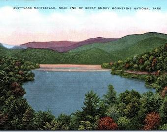 Lake Santeetlah, Smoky Mountains, North Carolina - Linen Postcard - Postcard - Unused (II)