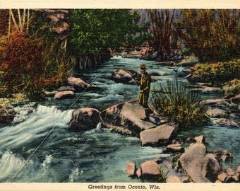 Oconto, Wisconsin, Fishing - Vintage Postcard - Linen Postcard - Unused (VV)