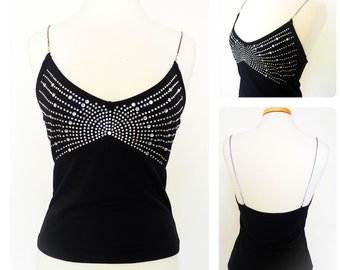Vintage 90s Jewel Embellished Black Tank Top