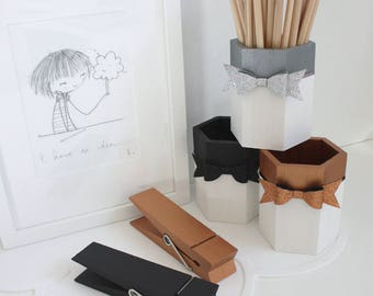 Wooden Pencil Pot - Metallic/Mono, Pen Pot, Pencil Pot, Desk Storage, Tidy Tub, Monchrome, Glitter Bow