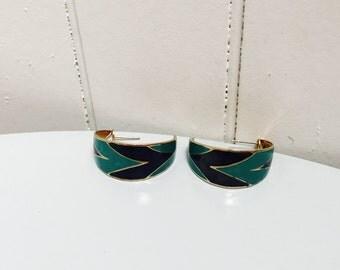 Vintage 1970s/1980s Navy Blue & Teal Half Hoop Pierced Earrings