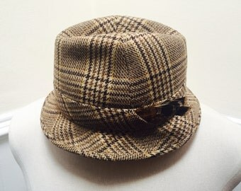Vintage 1950s Brown Tweed Plaid Wool Fedora with Feather