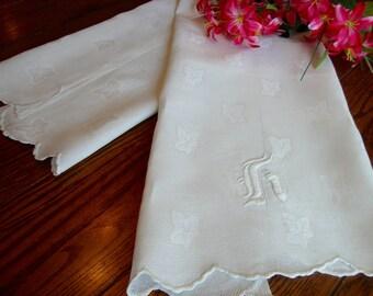 """Antique Linen Towel White Damask Bath Towel Monogram 22"""" x 42"""""""