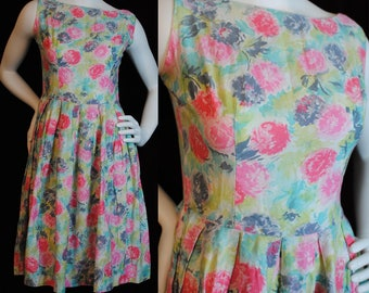 60s simple sleeveless day dress cotton candy pastels figure flattering