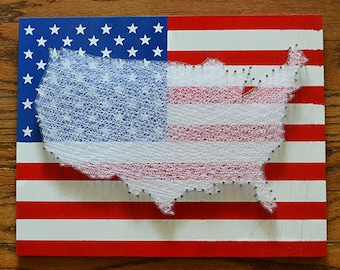 "American Flag with the United States String Art - 11""x14"" - America Nail Art - USA Flag"