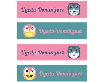 FAST SHIPPING! Fabric Name Labels, Clothing Name Labels, Clothing Name Tags, Iron-On, School Labels, Daycare, Camp, Girl, Owls, Pink, Teal