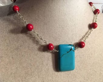 Red Necklace - Turquoise Jewelry - Gemstone Jewellery - Sterling Silver Chain - Pendant - Fashion