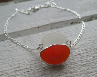 Orange Sea Glass Bezel Set Sterling Silver Necklace