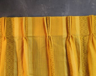 Pair of Vintage Woven Textured Striped Curtain Drapery Panels