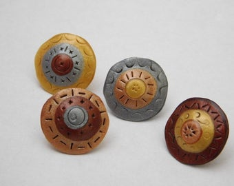 Decorative Polymer Clay Thumb tacks, metallic push pins, set of 4