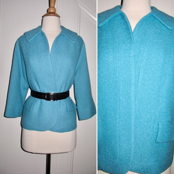Vintage 1960s Tiffany Blue Short Wool Open Front Coat Jacket with 2 Flap Pockets Excellent Condition