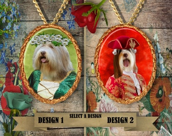 Bearded Collie Jewelry/Bearded Collie Pendant or Brooch/Bearded Collie Portrait/Dog Porcelain Jewelry/Custom Dog Jewelry by Nobility Dogs