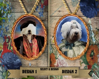 Old English Sheepdog Jewelry - Pendant - Brooch – Necklace – Dog Jewelry – Dog Pendant – Dog Brooch – Dog Custom Jewelry By Nobility Dogs