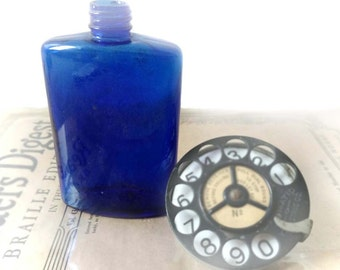 Cobalt Bottle Blue Glass Oval Shape Antique Medicine Bottle Twist Off Deep Blue Cobalt Flask Shape Rounded Shoulders MYSTERY Maker
