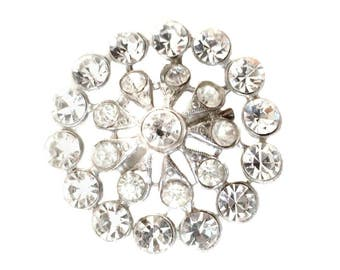 Clear Rhinestone Brooch Silver Tone Gold Foil Back Open Back Stones Round Rhinestone Pin Crystals Mixed Sizes Large Vintage SPARKLY Brooch