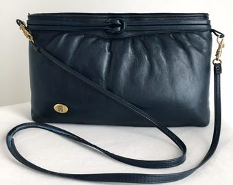 Vintage Etienne Aigner Navy Blue Leather Handbag Clutch with Knot Detail