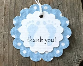 Set Of 12 Scallop Blue Baby Polka Dot Thank You Feet Tags - Baby Shower Favor Tag