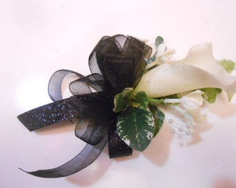PROM CORSAGE and BOUTONNIERE 2 pc. set. White Calla Lily, Navy, White, or Black Ribbon. Wedding Mother of the Bride. Prom wrist corsage.