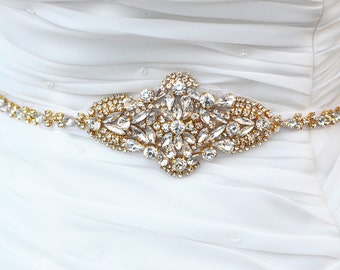 GOLD Wedding Belt, Bridal Belt, Sash Belt, Crystal Rhinestones sash belt,vintage sash belt