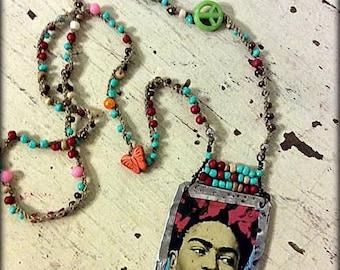 Frida Kahlo Crocheted Necklace, Handmade Tin Pendant, Frida Kahlo Necklace