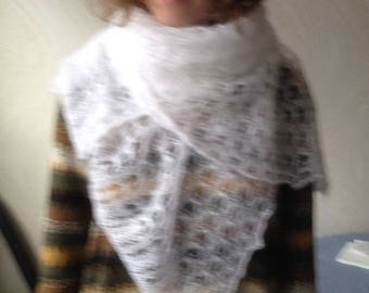 knitted white kid mohair lace tippet scarf/ women Accessories/handmade Shawl