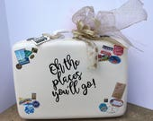 Custom - Oh the Places You'll Go. Card Holder Vintage Suitcase