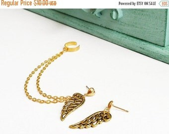 SALE Gold Hearts and Wings Ear Cuff (Pair)