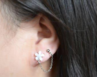 White Flower Double Lobe Cartilage Earrings (Pair)