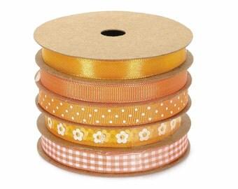Orange Ribbons Decorative Set of 5