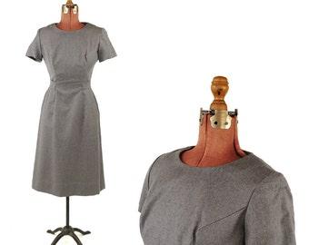 Vintage 1960's Peck + Peck Gray 100% Wool Preppy Winter Retro Belted Waist Dress S