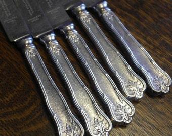 vintage set of 5 silver plate handle dinner knives