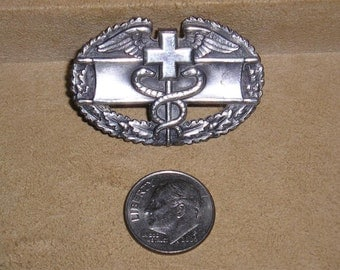 Vintage Signed Sterling Silver World War Two Medic's Badge Pin With Caduceus US Army Military Insignia 1940's Jewelry 6035